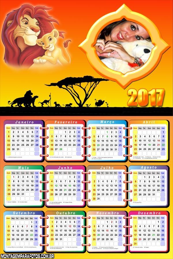 Calendário 2017 Filme Rei Leão
