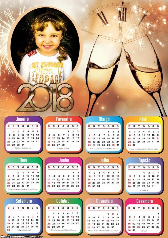 Montar Calendário 2018 Virada de Ano