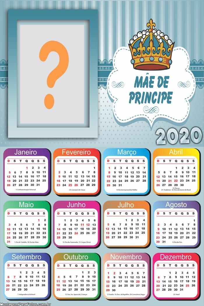 Calendário 2020 Mãe de Príncipe