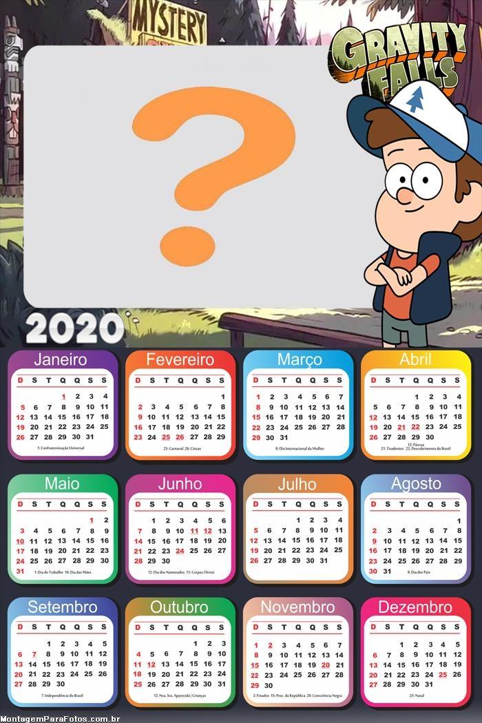 Calendário 2020 Dipper Gravity Falls