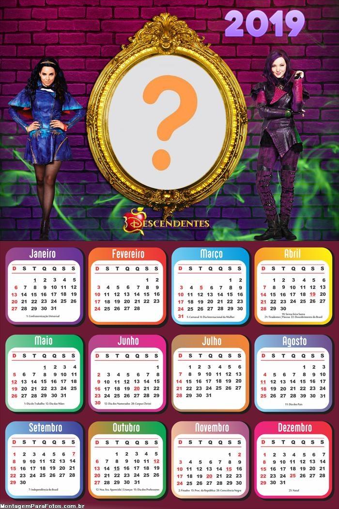 Calendário 2019 Os Descendentes