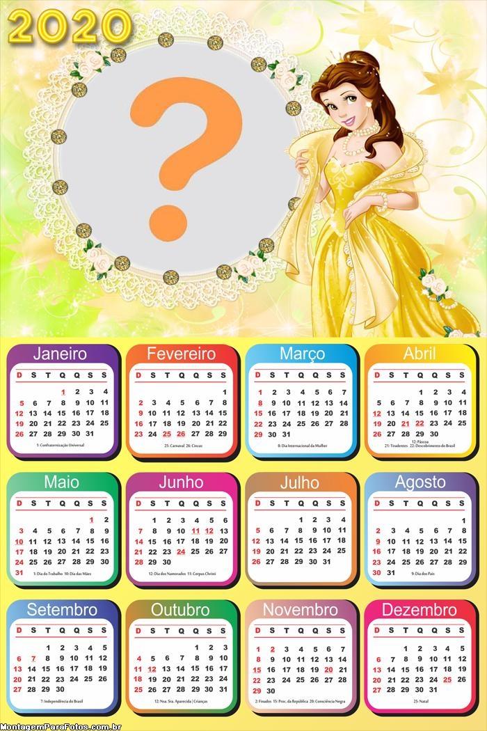 Foto Colagem Calendário 2020 Princesa Bela