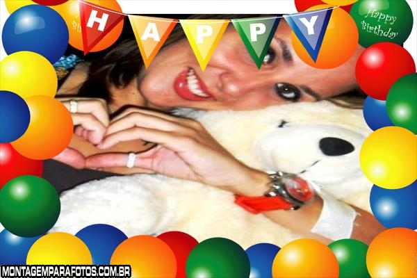 Aniversário com Balões Coloridos