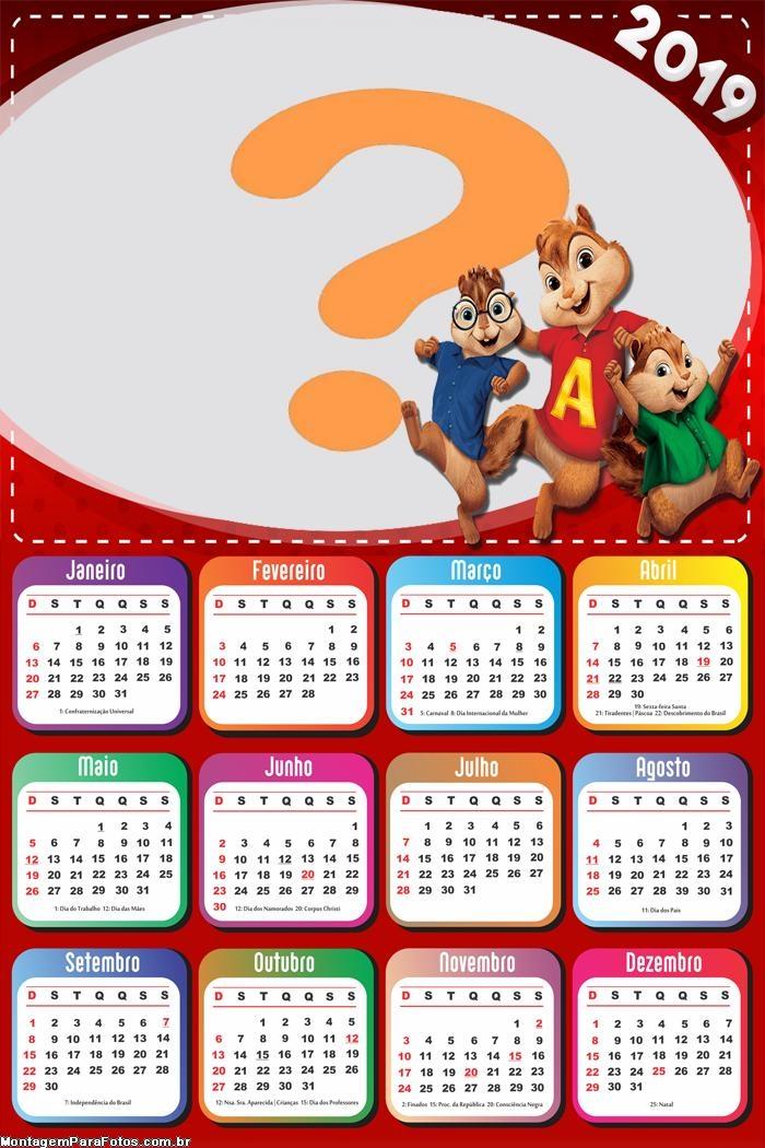 Calendário 2019 Alvin e os Esquilos