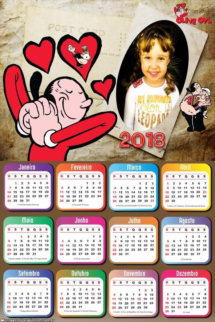 Calendário 2018 Popeye e Olivia Palito