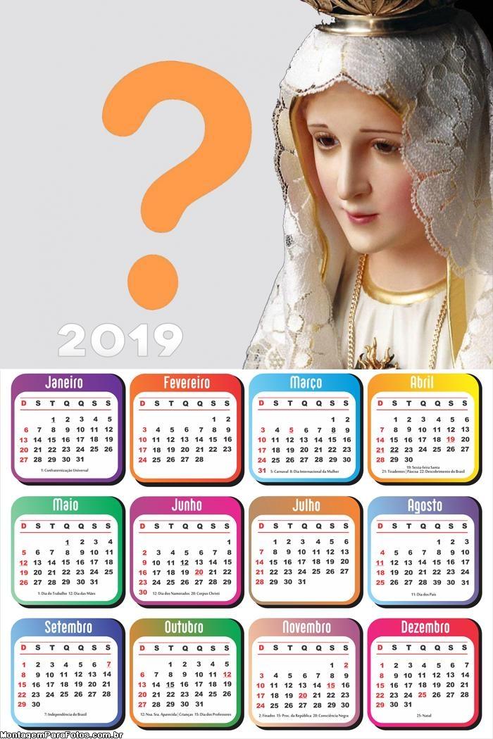 Calendário 2019 Nossa Senhora de Fátima