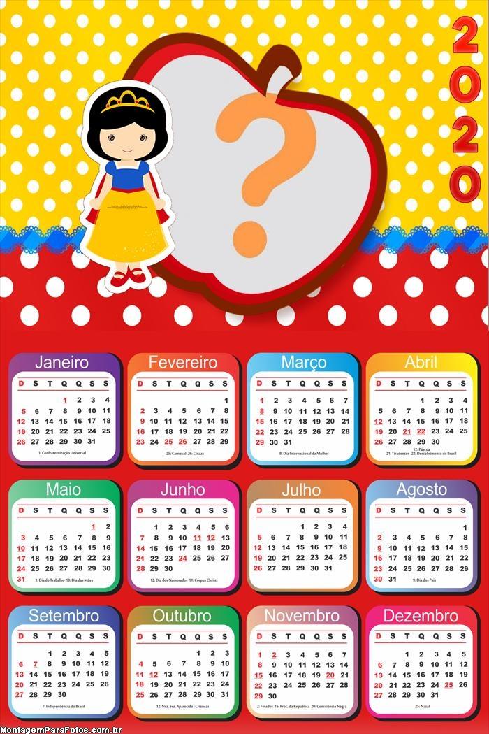 Calendário 2020 Branca de Neve Aniversário