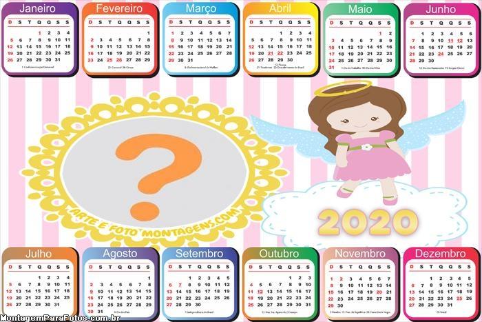 Calendário 2020 Realeza Horizontal Moldura