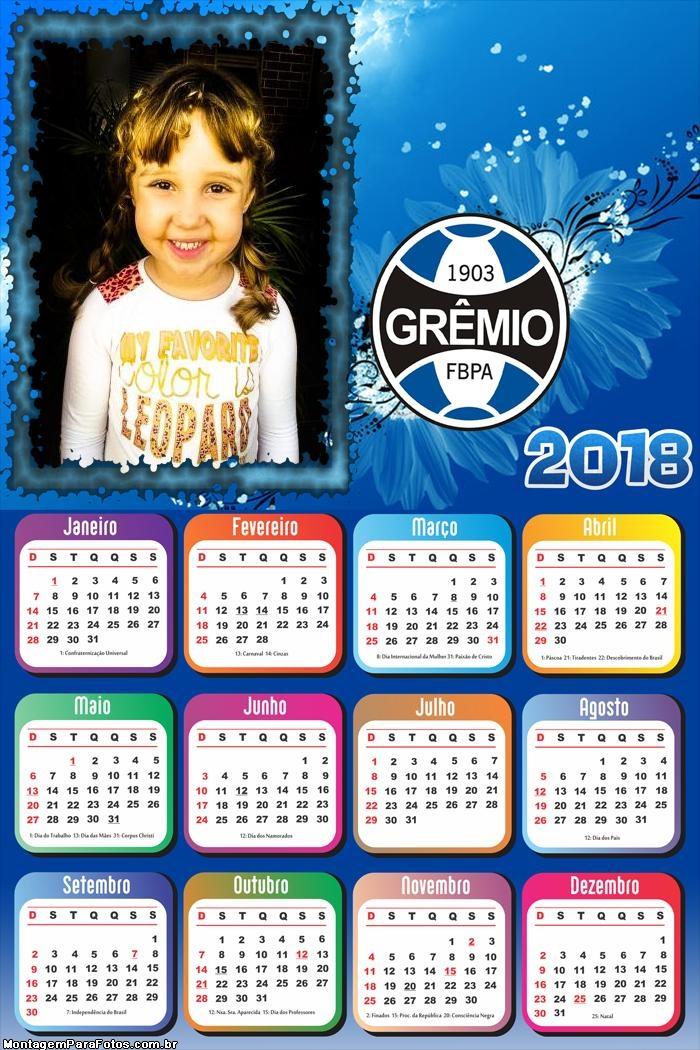 Calendário 2018 Time Futebol Grêmio