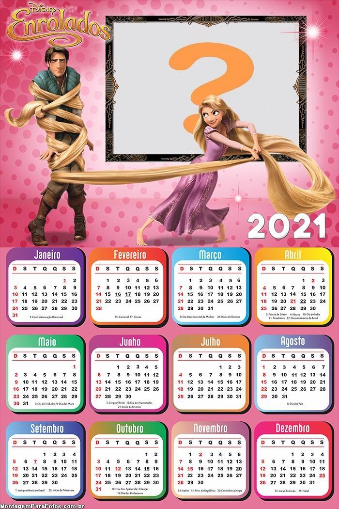Calendário 2021 Enrolados Desenho Infantil