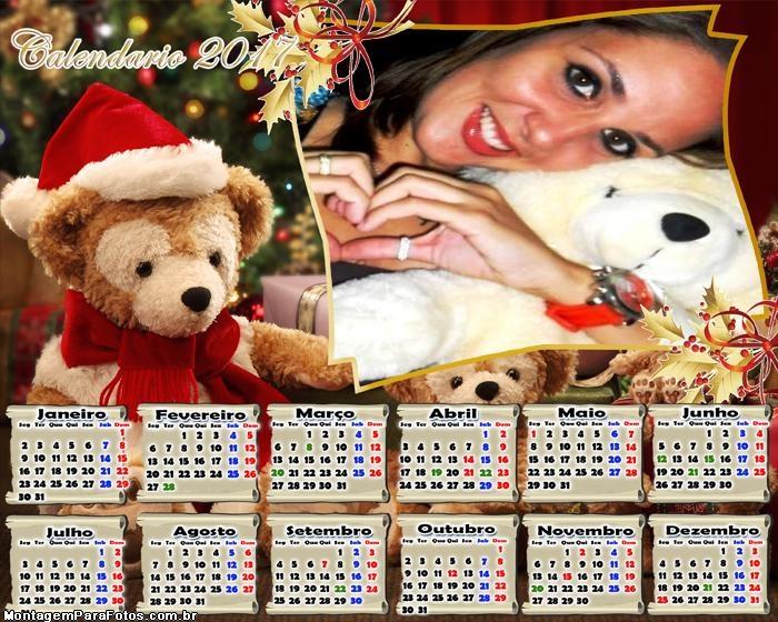 Calendário 2017 Ursinho Noel