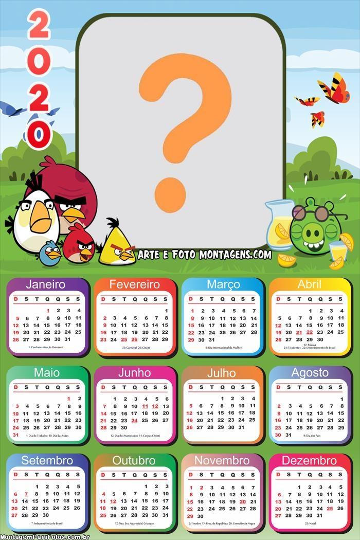 Calendário 2020 Angry Birds Desenho Moldura