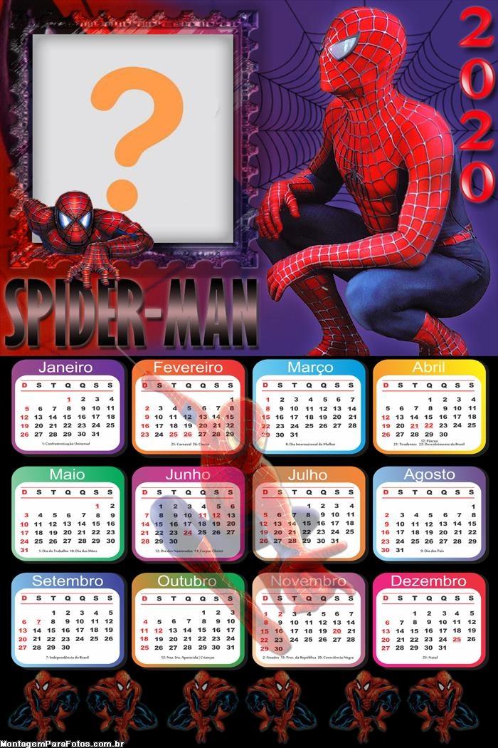 Calendário 2020 Homem Aranha para Imprimir