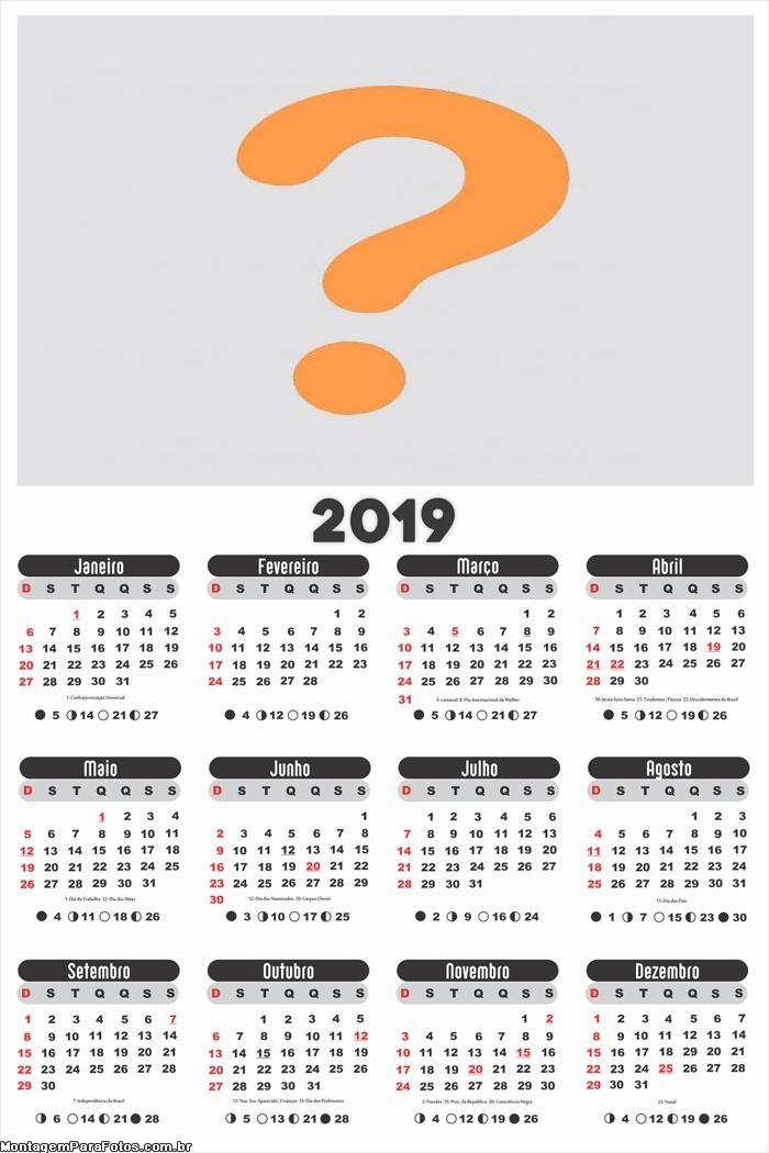Calendário 2019 para Empresa e Comércio