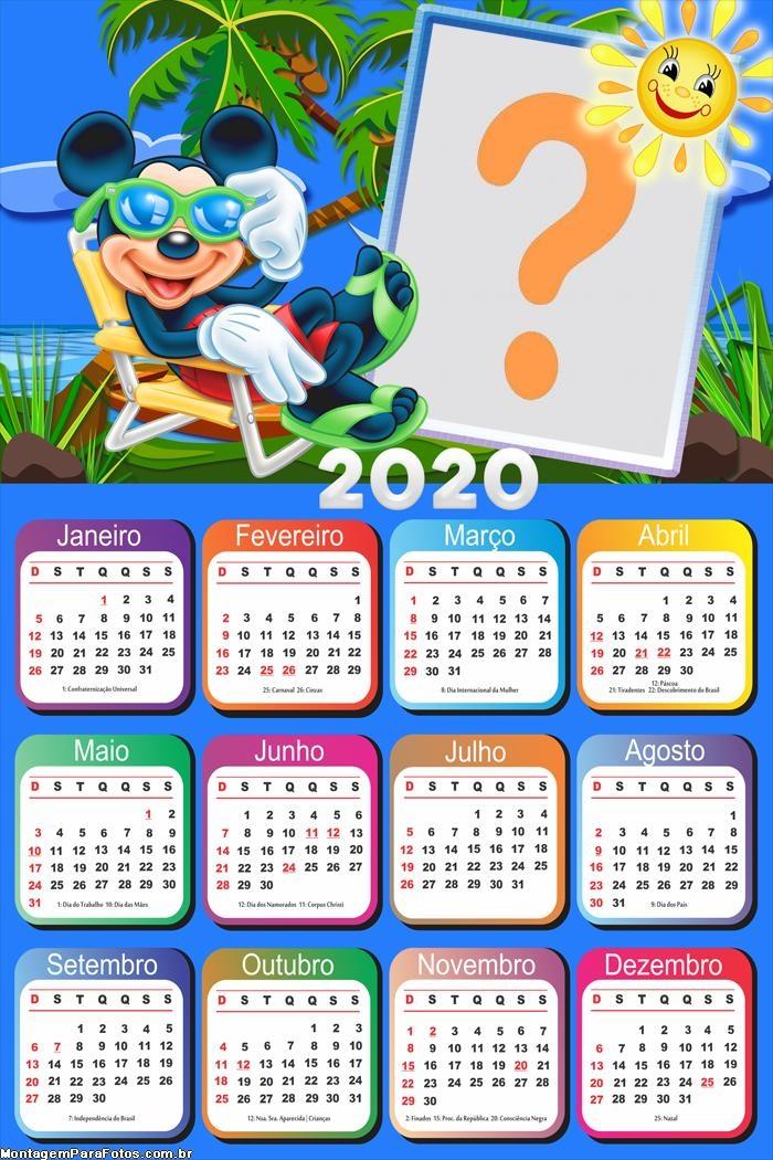 Calendário 2020 Mickey Férias Moldura