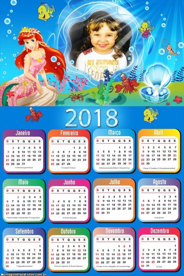 Calendário 2018 Princesa do Mar Disney