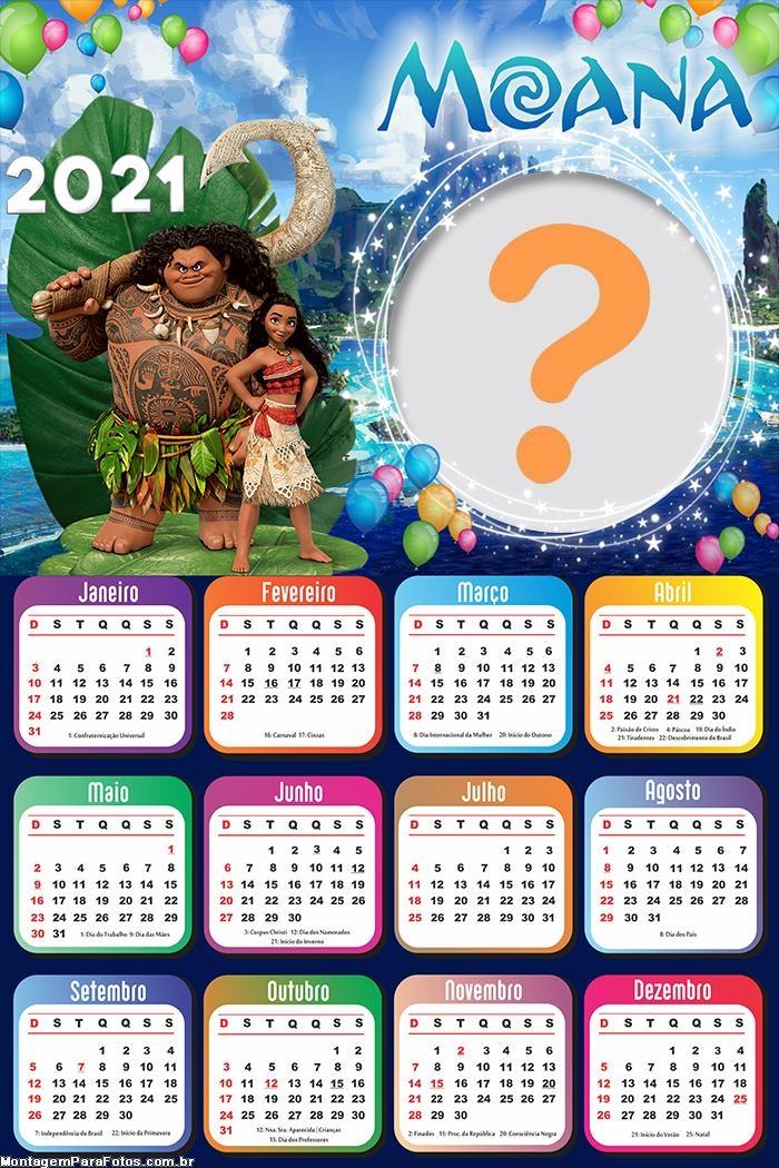 Calendário 2021 Aniversário Moana