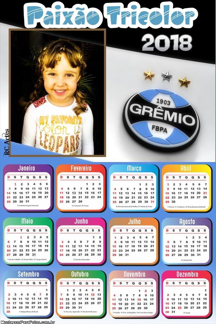 Calendário 2018 do Grêmio Futebol