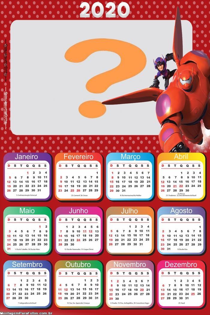 Calendário 2020 Big Hero para Imprimir
