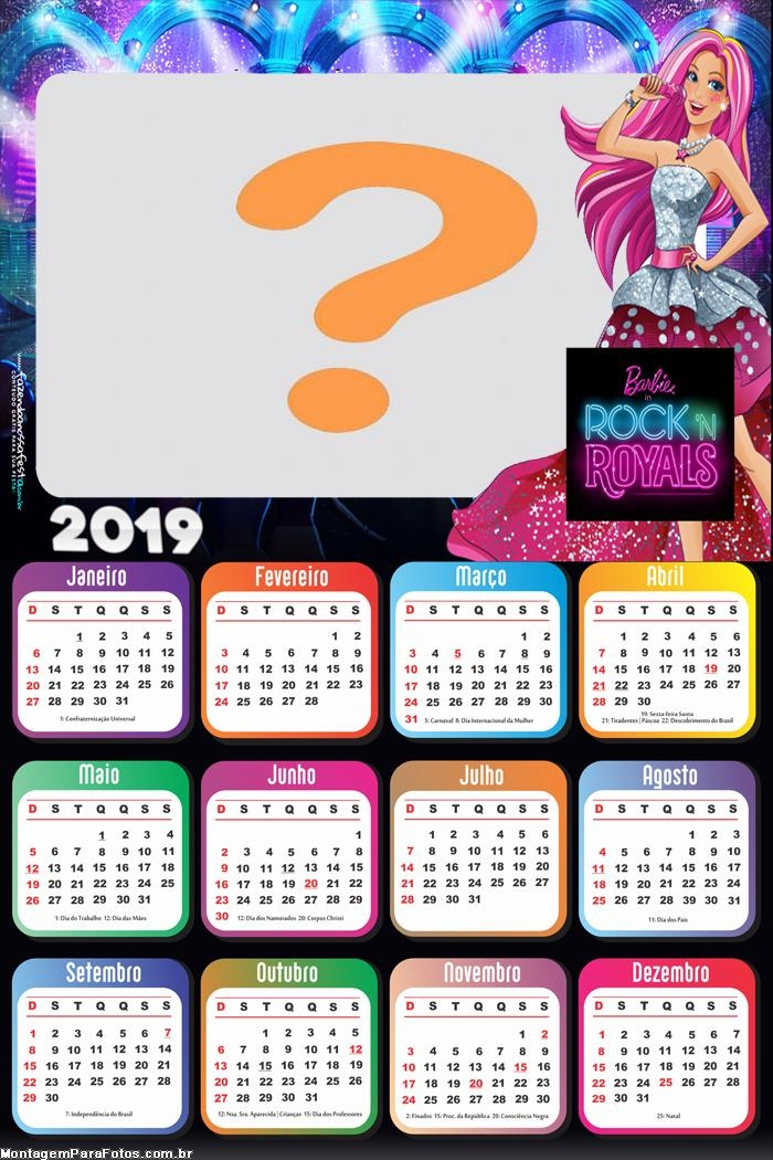 Calendário 2019 Barbie in Rock Royals
