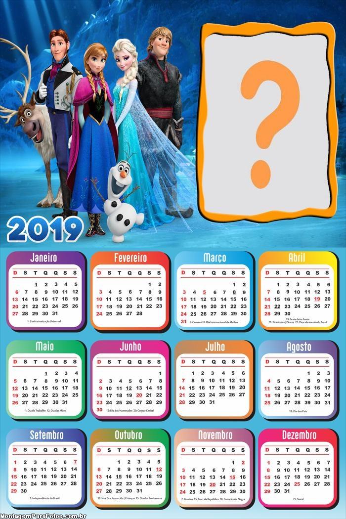 Calendário 2019 Frozen Personagens