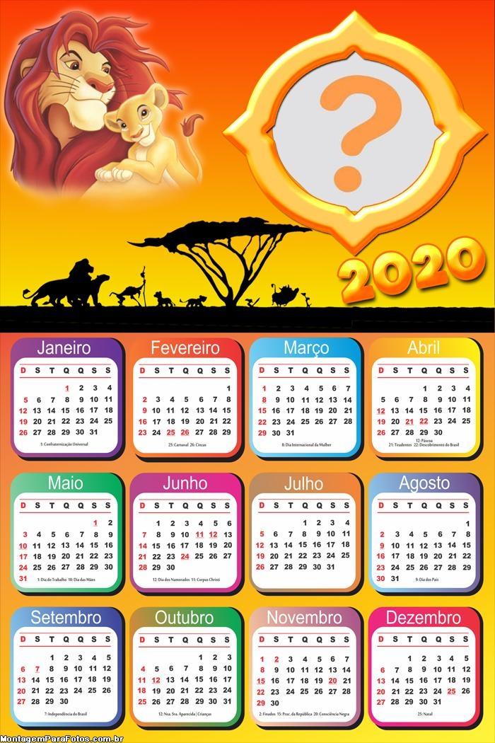 Calendário 2020 do Rei Leão Colagem de Foto