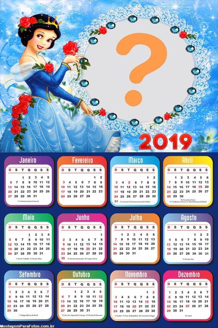Calendário 2019 Branca de Neve