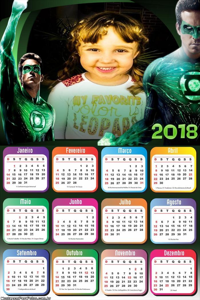 Calendário 2018 Lanterna Verde