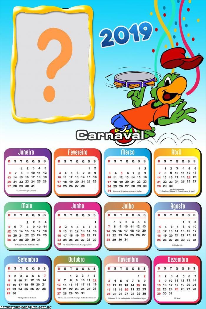 Calendário 2019 Zé Carioca no Carnaval