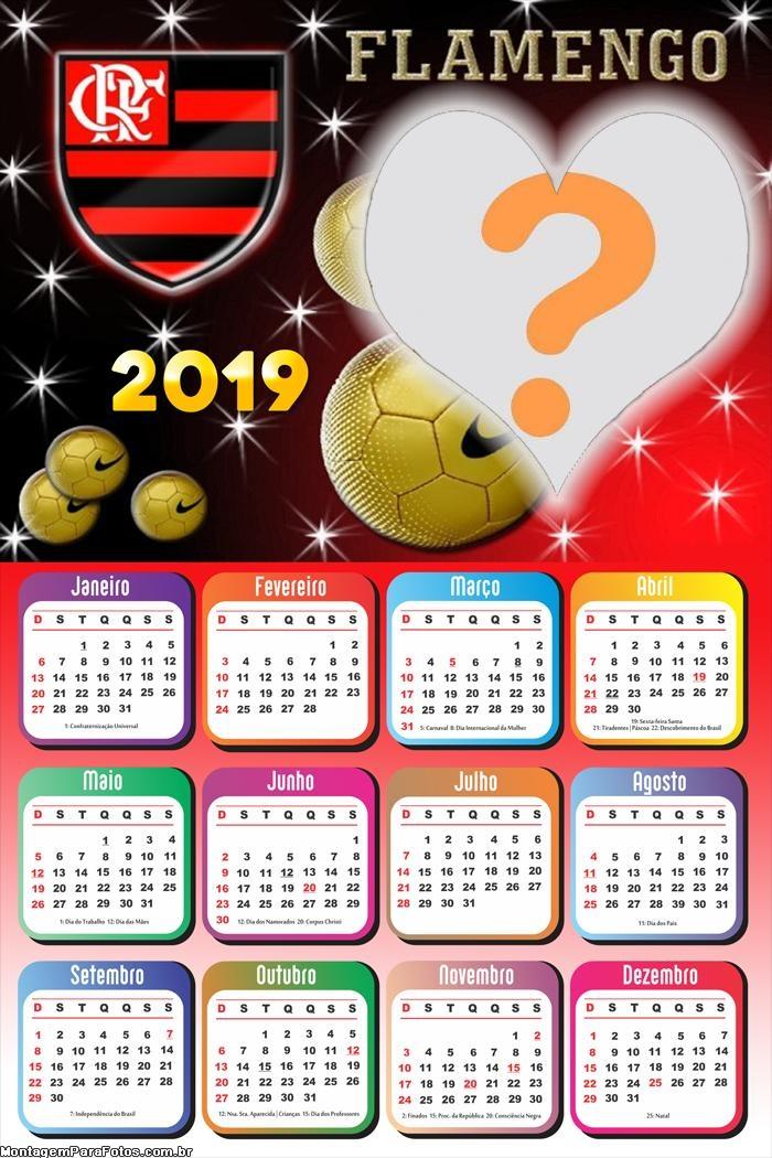 Calendário 2019 Flamengo Coração