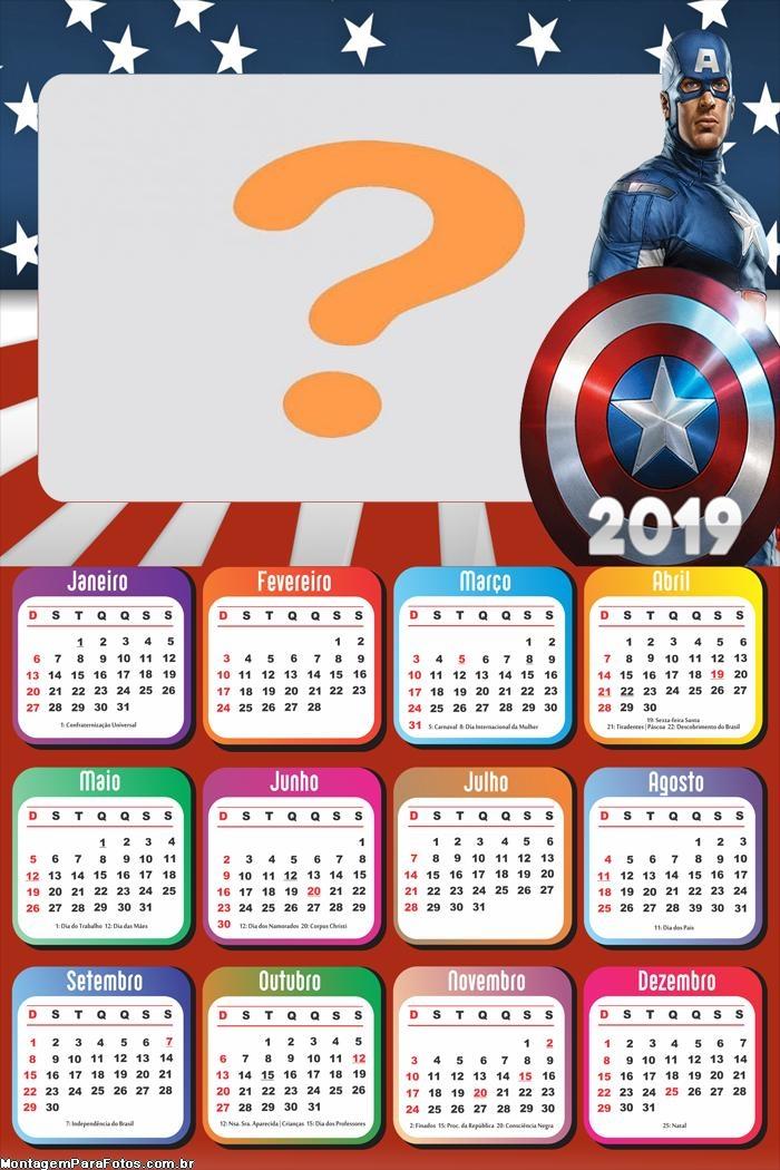 Calendário 2019 Capitão América Guerra Civil