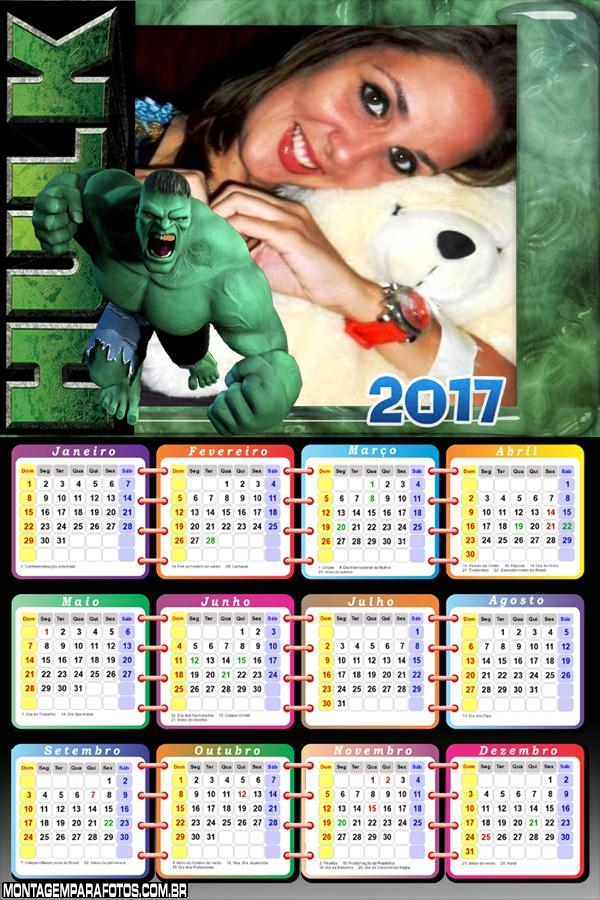 Calendário 2017 do Hulk Incrível