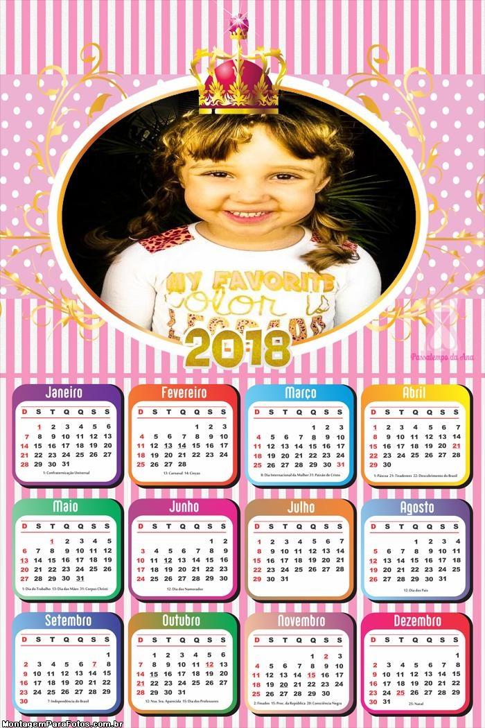 Calendário 2018 Realeza Meninas