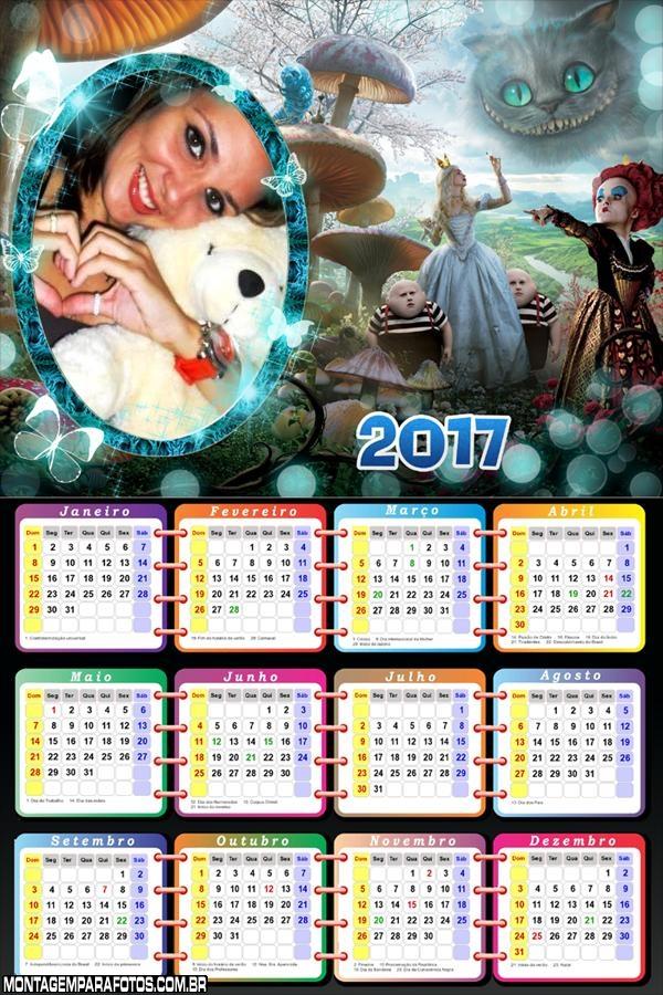 Calendário 2017 Filme Alice no Pais das Maravilhas