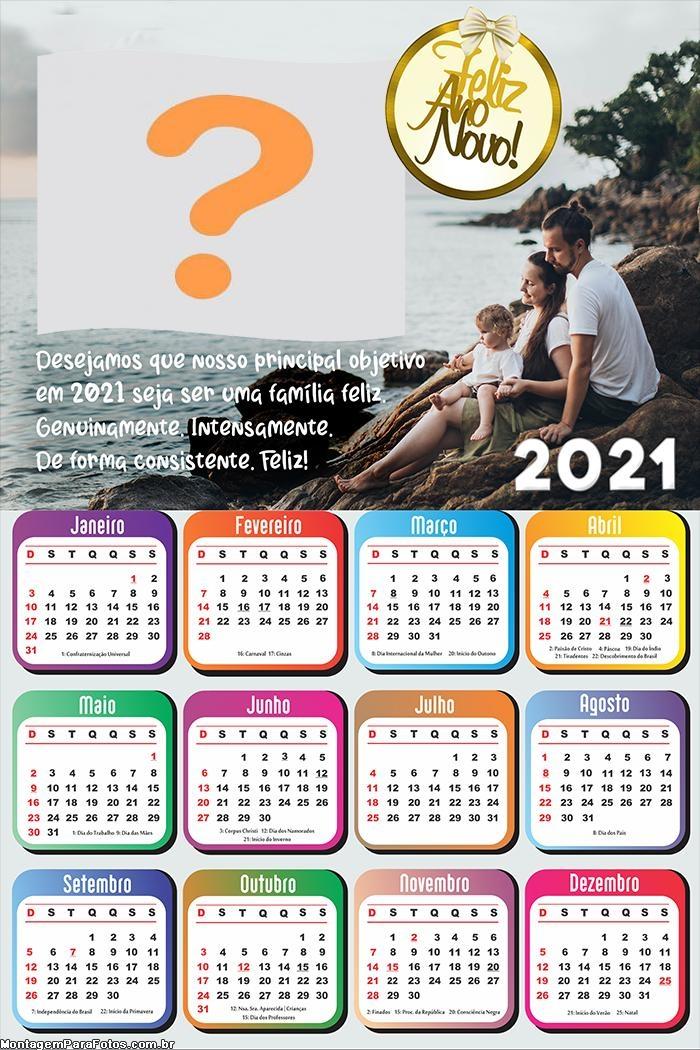 Calendário 2021 de Ano Novo Mensagem