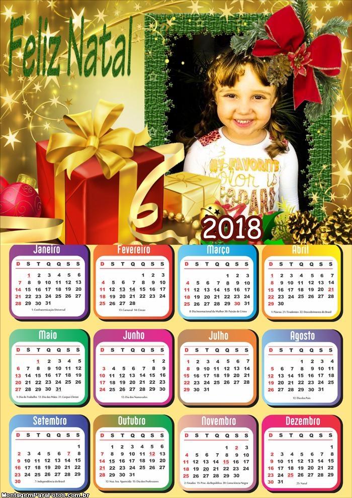 Feliz Natal Calendário 2018 Moldura