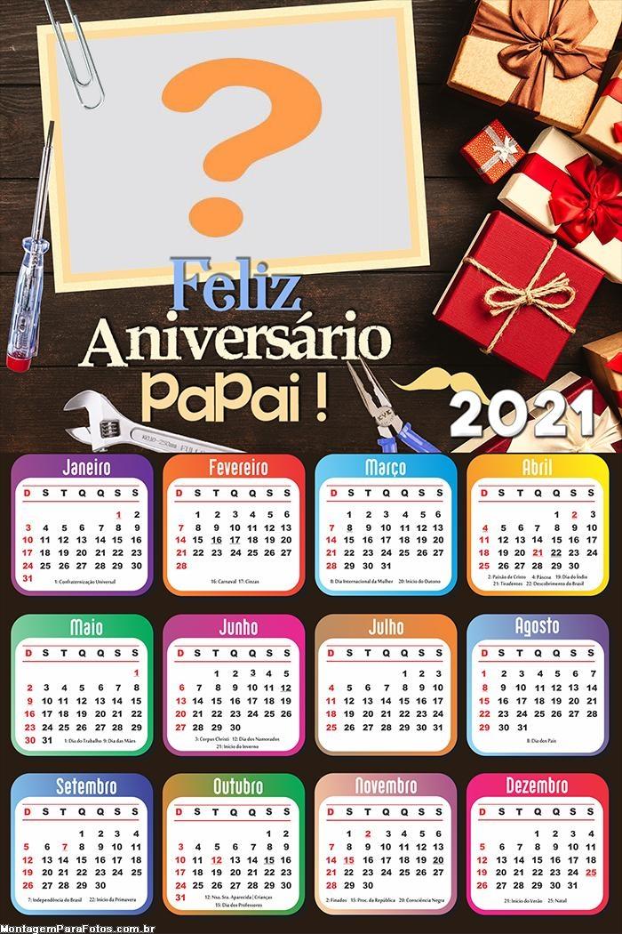 Calendário 2021 Feliz Aniversário para o Papai