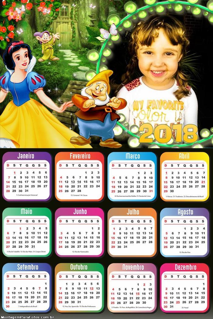 Calendário 2018 Anões Branca de Neve