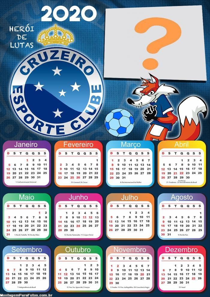 Calendário 2020 do Cruzeiro Foto Montagem