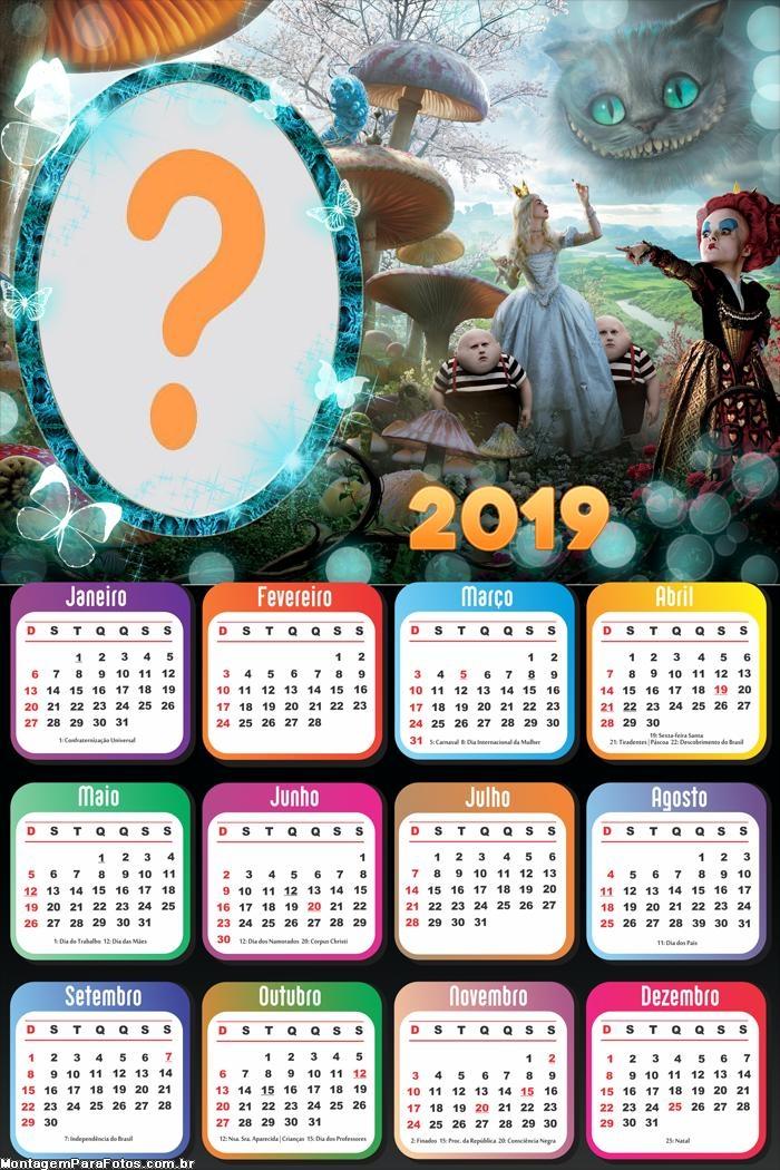Calendário 2019 Alice no Pais das Maravilhas