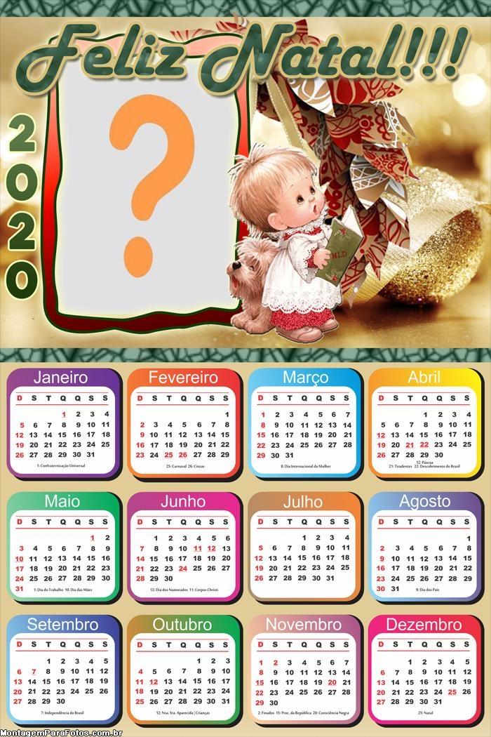 Calendário 2020 de Natal para Imprimir