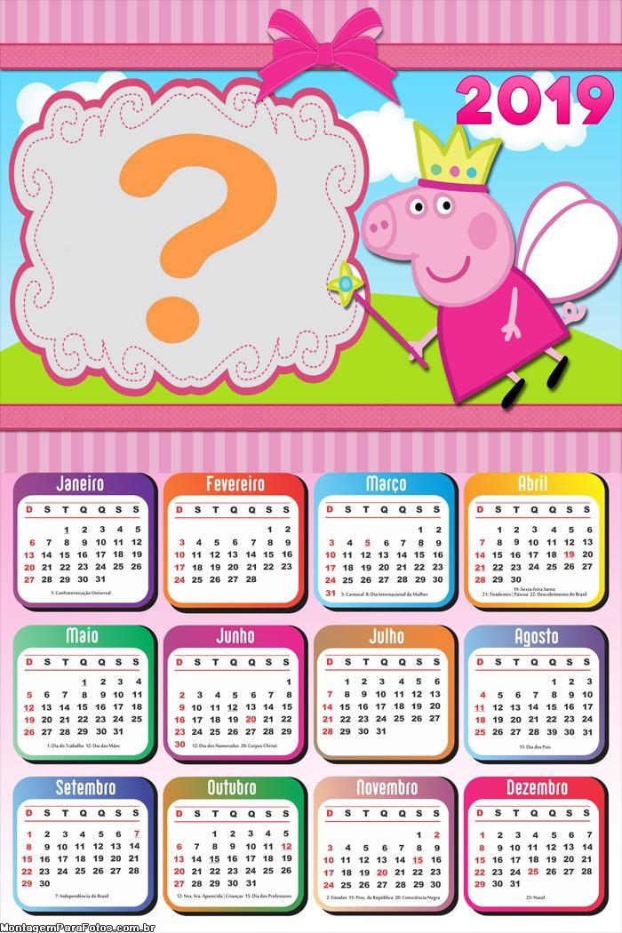 Calendário 2019 Peppa Piga Fadinha