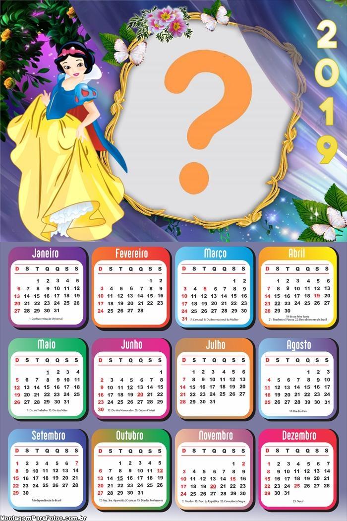 Calendário 2019 Branca de Neve e os Sete Anões