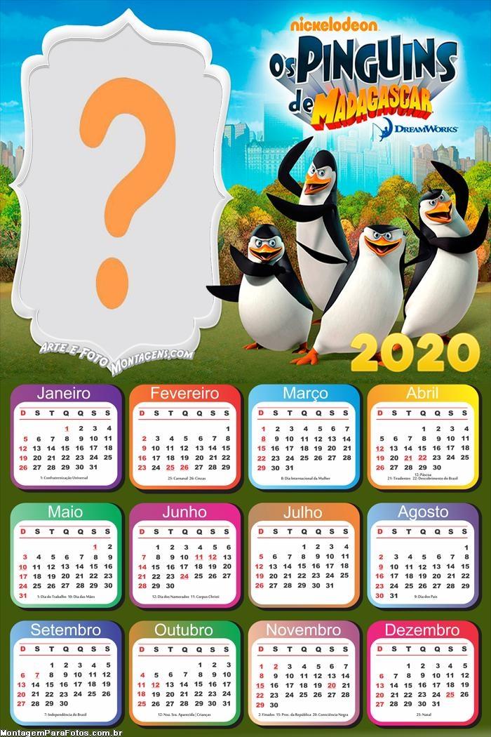 Calendário 2020 Pinguins de Madagascar