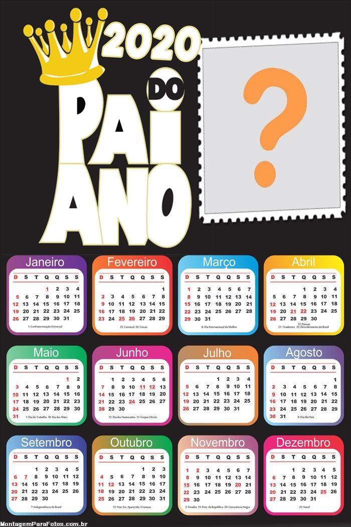 Calendário 2020 Pai do Ano para o Dia dos Pais