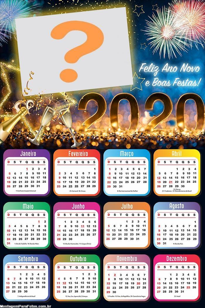 Calendário 2020 Feliz Ano Novo 2020