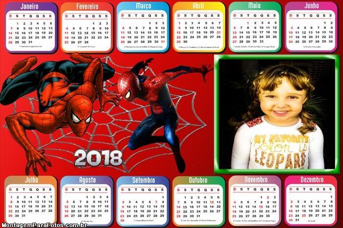 Calendário 2018 Horizontal Homem Aranha