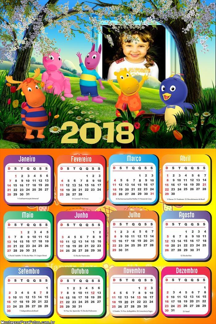 Calendário 2018 Os Backyardigans no Jardim