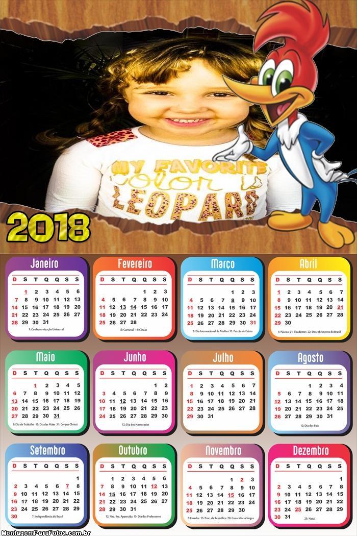 Calendário 2018 do Pica Pau