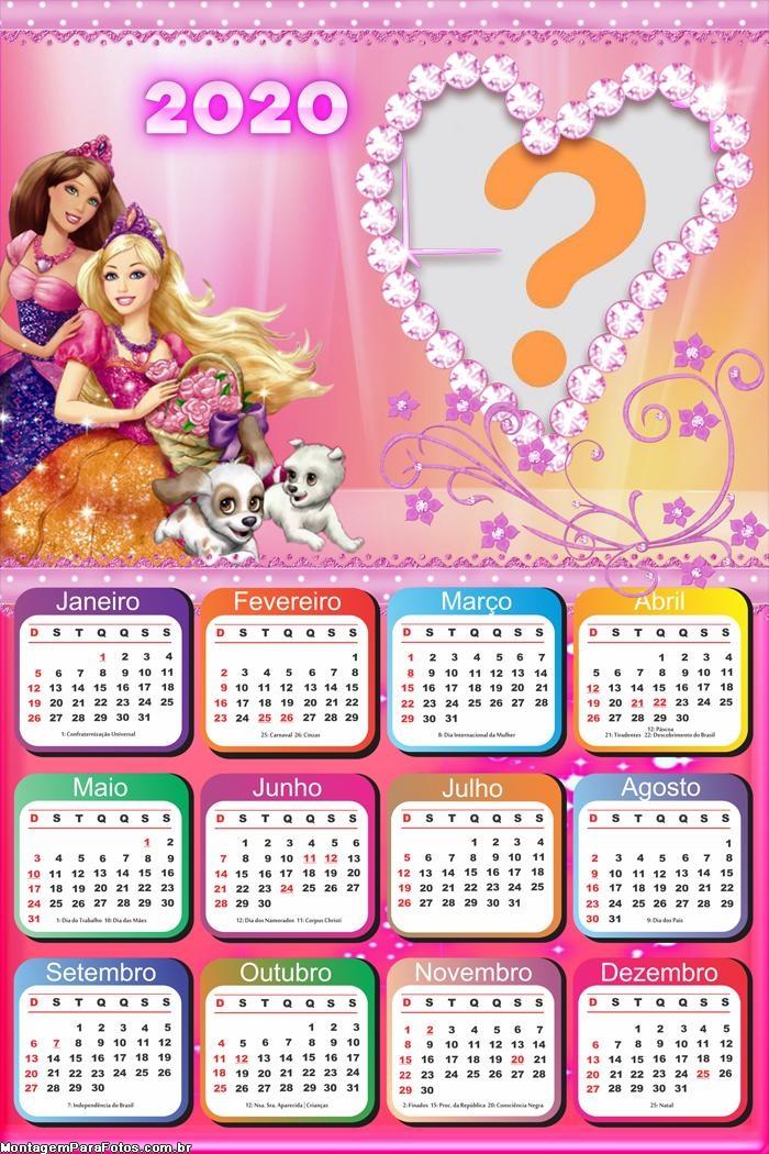Calendário 2020 Barbie Moldura Infantil